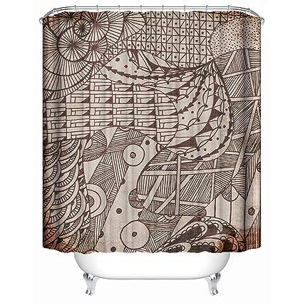 Home Decor Shower CurtainMural Style Retro Geometric Brown Animal Khaki BackdropWaterproof