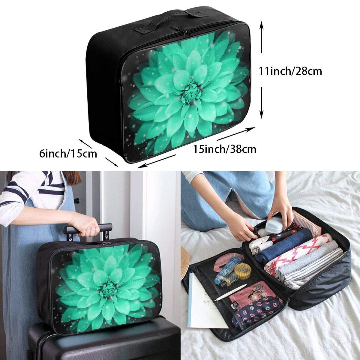 Travel Luggage Duffle Bag Lightweight Portable Handbag Green Flowers Pattern Large Capacity Waterproof Foldable Storage Tote