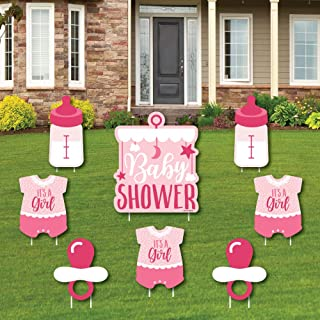 product image for It's a Girl - Yard Sign and Outdoor Lawn Decorations - Pink Baby Shower Yard Signs - Set of 8