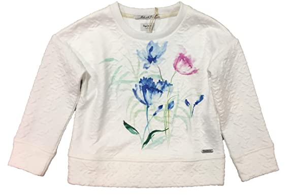 b133e32222468 Pepe Jeans Sweat-Shirt - Fille Blanc Blanc: Amazon.fr: Vêtements et ...
