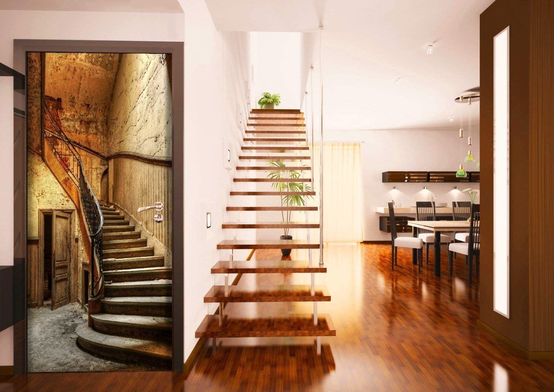 posterdepot ktt0447 - Póster para Puerta (93 x 205 cm) diseño con Escalera rústica de Madera: Amazon.es: Hogar