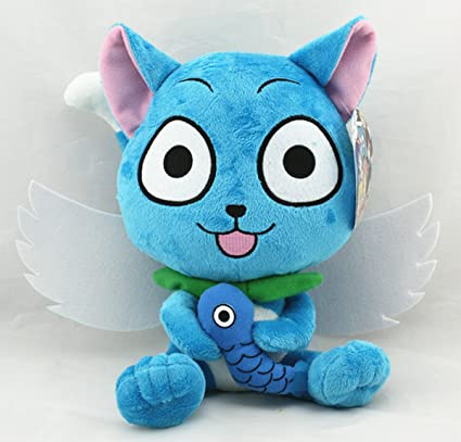 """Soft Cute Fairy Tail Happy Cat ハッピー 10/"""" Plush Toy US Fast Ship Birthday Gift"""