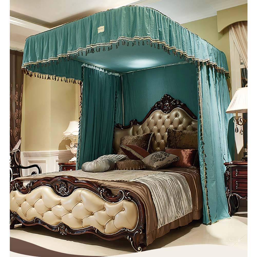 Large Size Mosquito Net,Bed Canopy for Girls,Lightweight Premium Bed Drapes,4 Corners Lightproof Curtain for Beds Cribs-Green Twinch2 by Bling (Image #4)