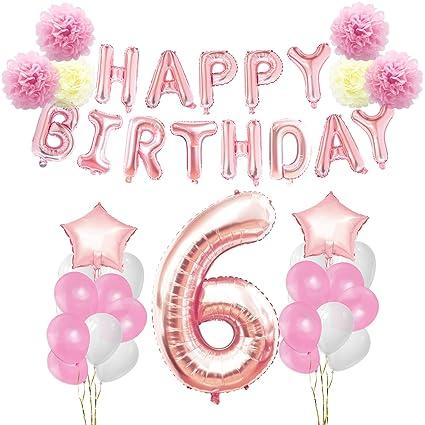 KUNGYO 6 años Oro Rosa Decoraciones de Fiesta de Cumpleaños - Happy Birthday Bandera de Globos, Globos de Aluminio Número y Estrella, Cintas ...