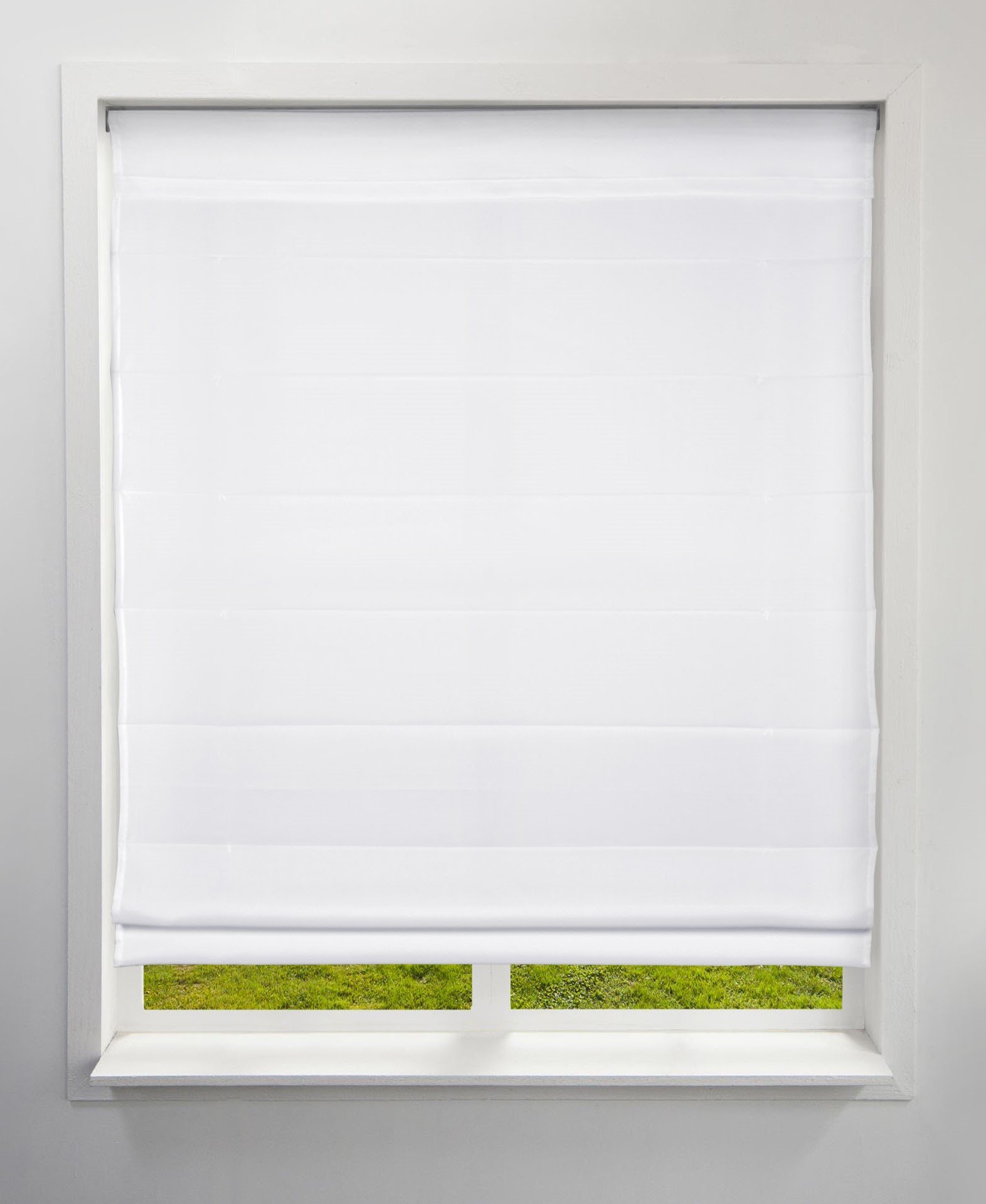 Arlo Blinds Light Filtering Fabric Roman Shades, Color: Cloud White, Size: 24'' W x 60'' H, Cordless Lift Window Blinds by Arlo Blinds