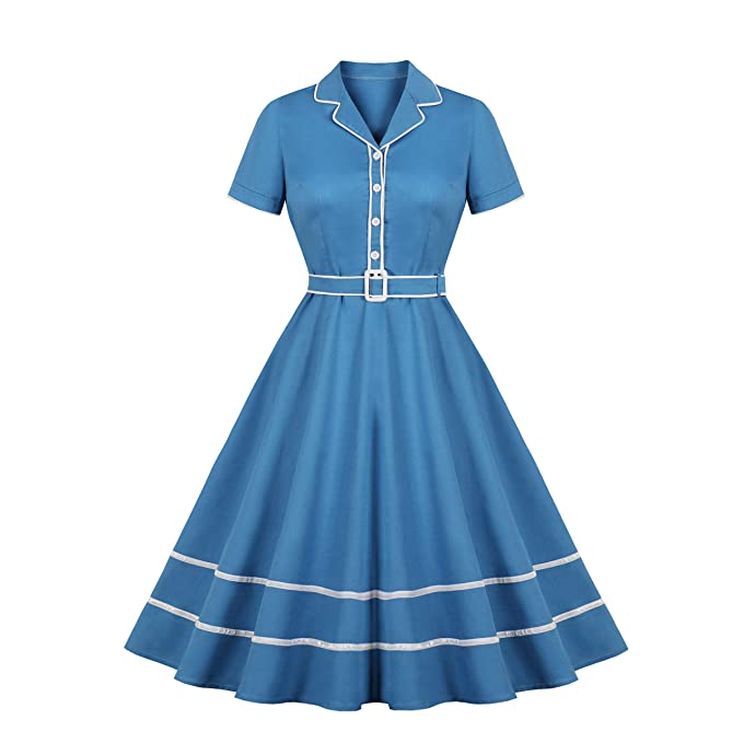 Vintage 50s Dresses: Best 1950s Dress Styles Wellwits Womens Blazer Collar Sailor Stripe Halloween Vintage Office Dress $23.98 AT vintagedancer.com