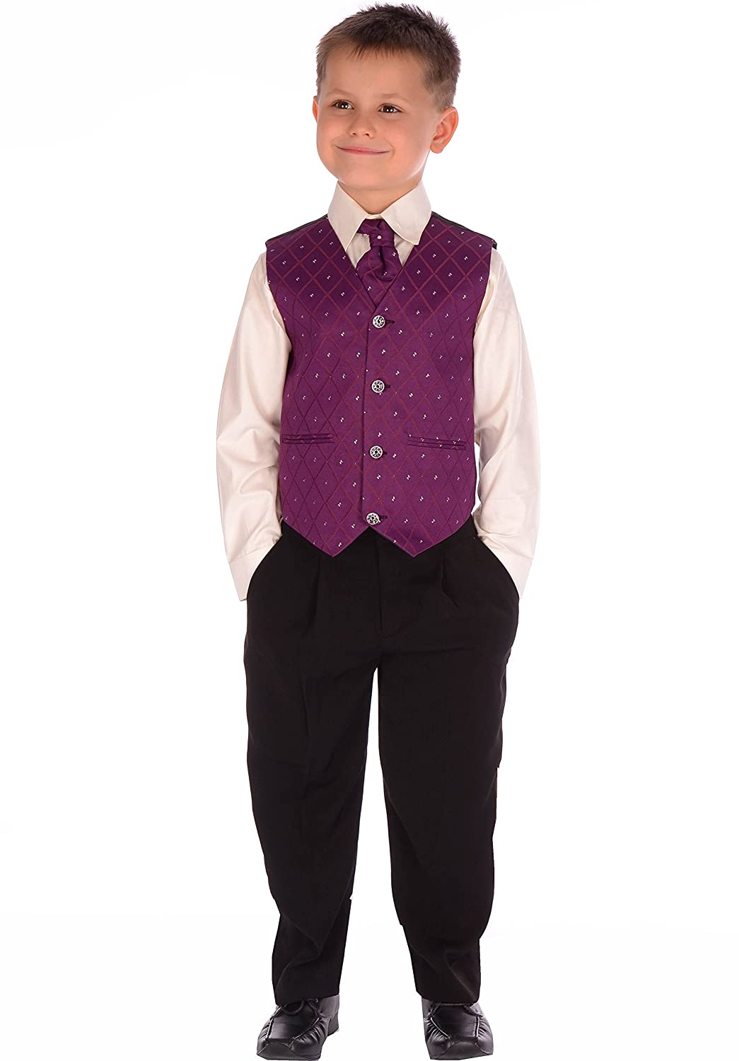4-Piece Boys Suits Black and Purple Suit Wedding Formal Pageboy Usher Age 0-3 month to 14-15 years