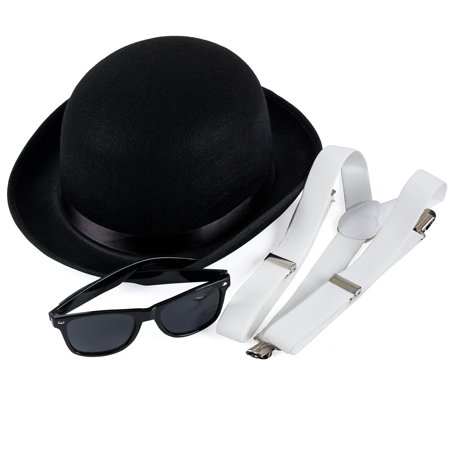 Funny Party Hats Gangster Accessories -3 Pc Set - Derby Hat, Suspenders Sunglasses - Roaring 20's Costume - Mobster Costume f-am220-am778-am807