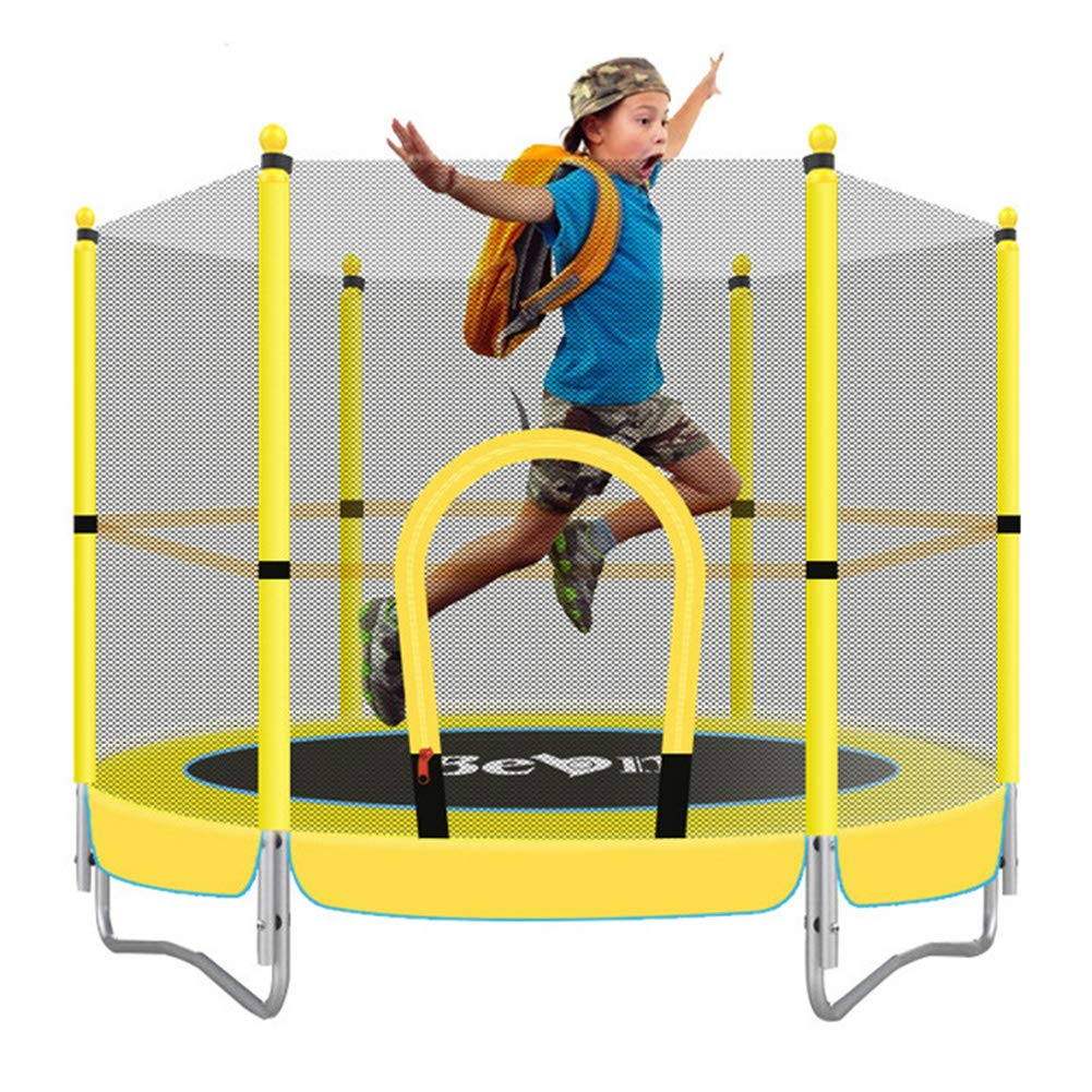 Kinder-Trampolin, Sicherheitsnetz mit Shell Sport Trampolin Frühling Jump Mat Indoor Springen Fitness-Bett verdickte Stahlrohr Babyspielzeug Durchmesser 150 cm