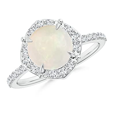 Angara Vintage Oval Opal Ring in Rose Gold - October Birthstone Ring ypwE2rgLa