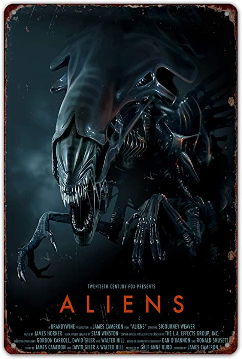HomDeo Metal Signs Vintage Novelty Wall Decor Aliens Movie Poster Vintage for Bar Ranch Cafe Laundry Room Gym Wine Cellar Tin Sign 8