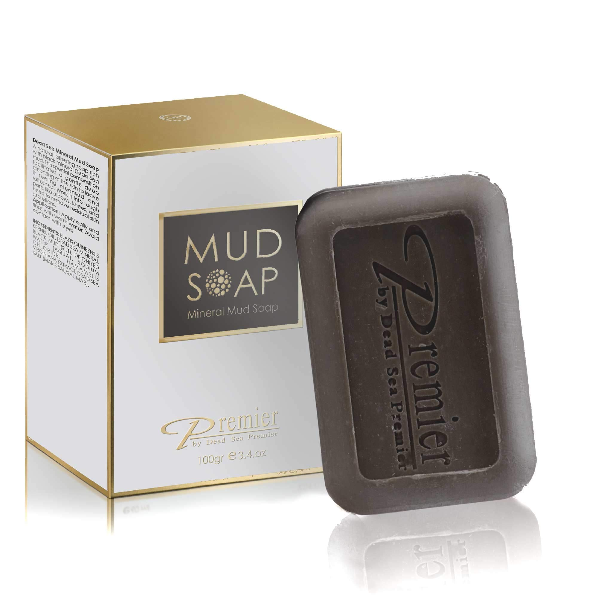 Premier Dead Sea Classic Mineral MUD and salt Soap, for Healthy looking skin. For all Skin Types. Natural, Therapeutic and Antibacterial, Helps with Acne, Eczema and Psorias , 3.4 Fl Oz by Premier by Dead Sea Premier