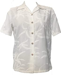 product image for Paradise Found Women's Palm Tree Leaf Aloha Shirt, Champagne, S