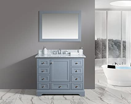 Amazon Com Urban Furnishing Jocelyn 42 Inch 42 Bathroom Sink Vanity Set With White Italian Carrara Marble Top Charcoal Home Kitchen