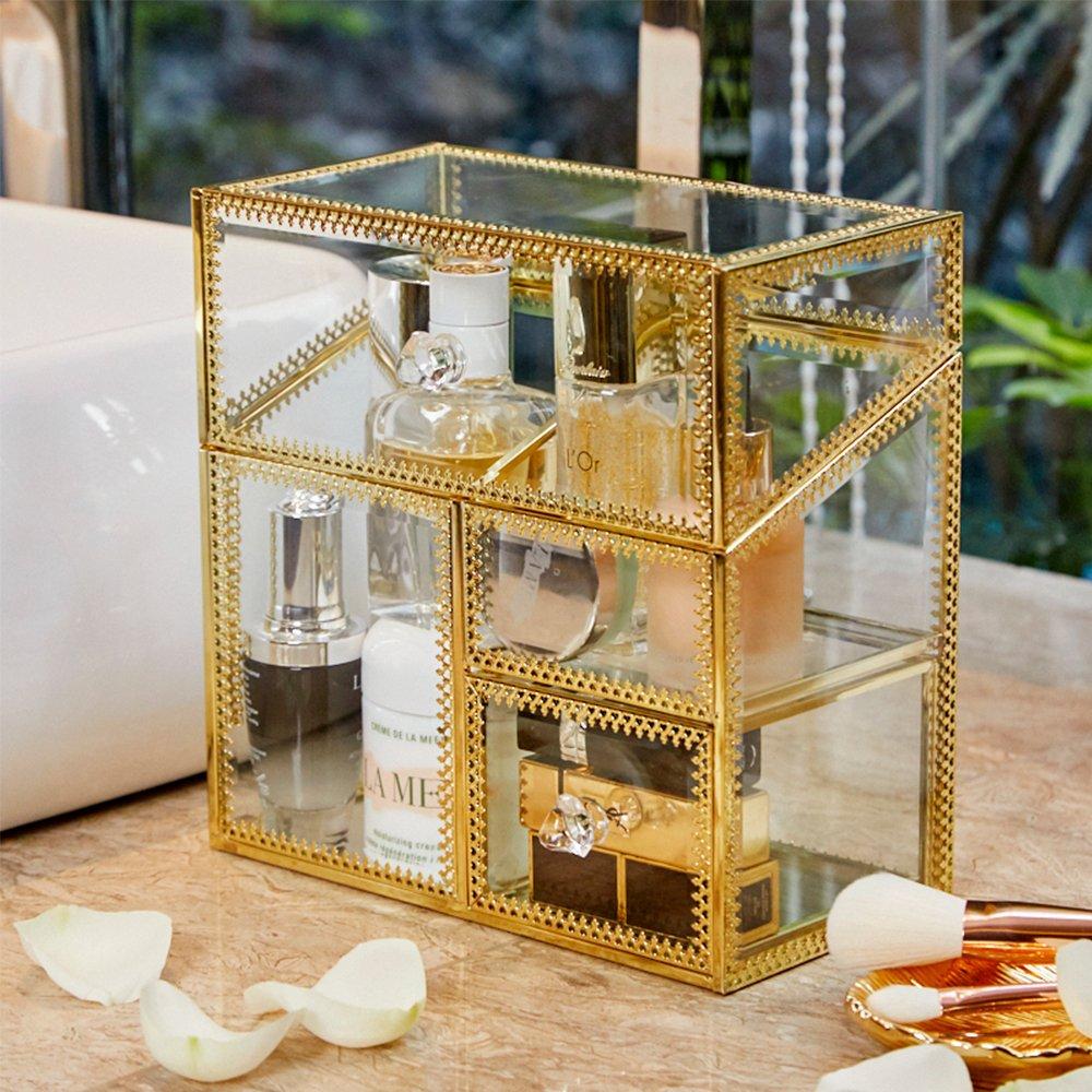 PuTwo 756244668796 Handmade Vintage Brass Edged Glass Storage Cosmetic Organizer Makeup Vanity Decoration Jewelry Box Make up Brushes Holder