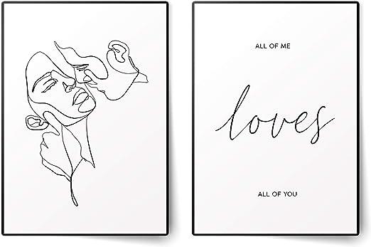 BLCKART Poster premium All of Me Loves All of You Comfort Duo, A3 senza cornice elegante poster decorativo per soggiorno