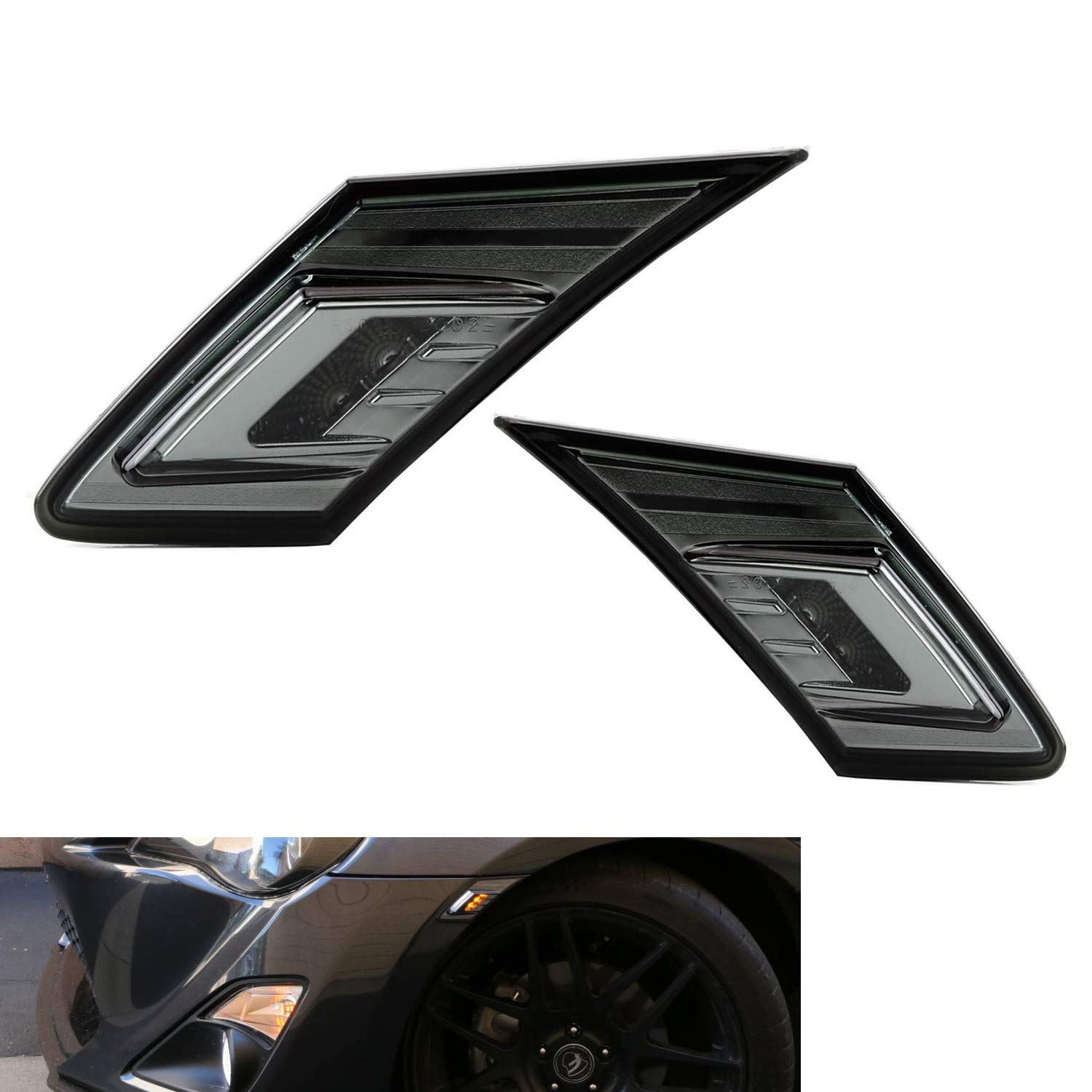 iJDMTOY Smoked Lens White/Amber LED Front Sidemarkers For 13-16 Scion on