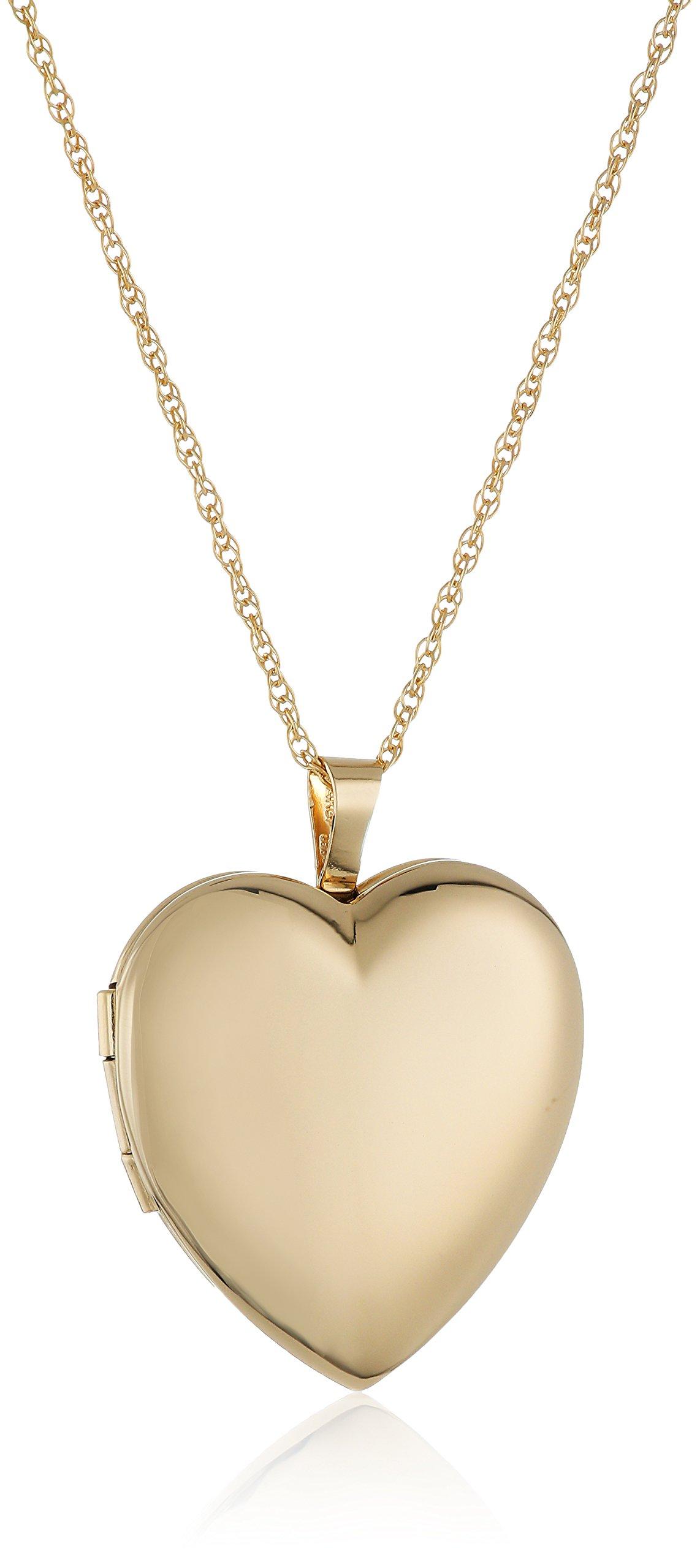 14k Gold-Filled Large Polished Heart Locket Necklace, 18''