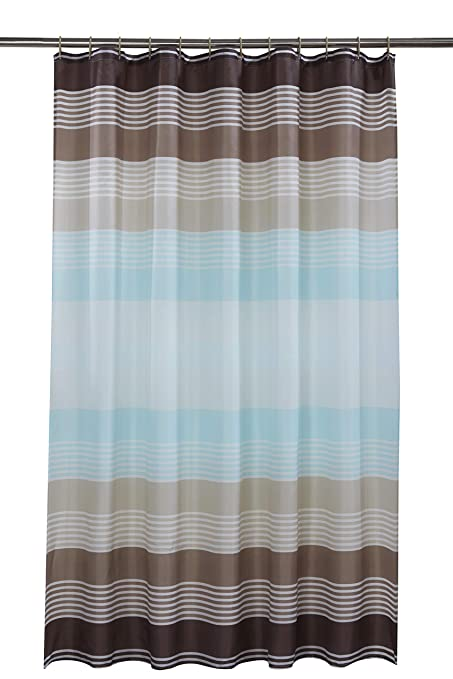 Vibrant Linear Cross Striped Polyester Shower Curtain Including 12 Mid Brown Rings By Waterline Amazoncouk Kitchen Home