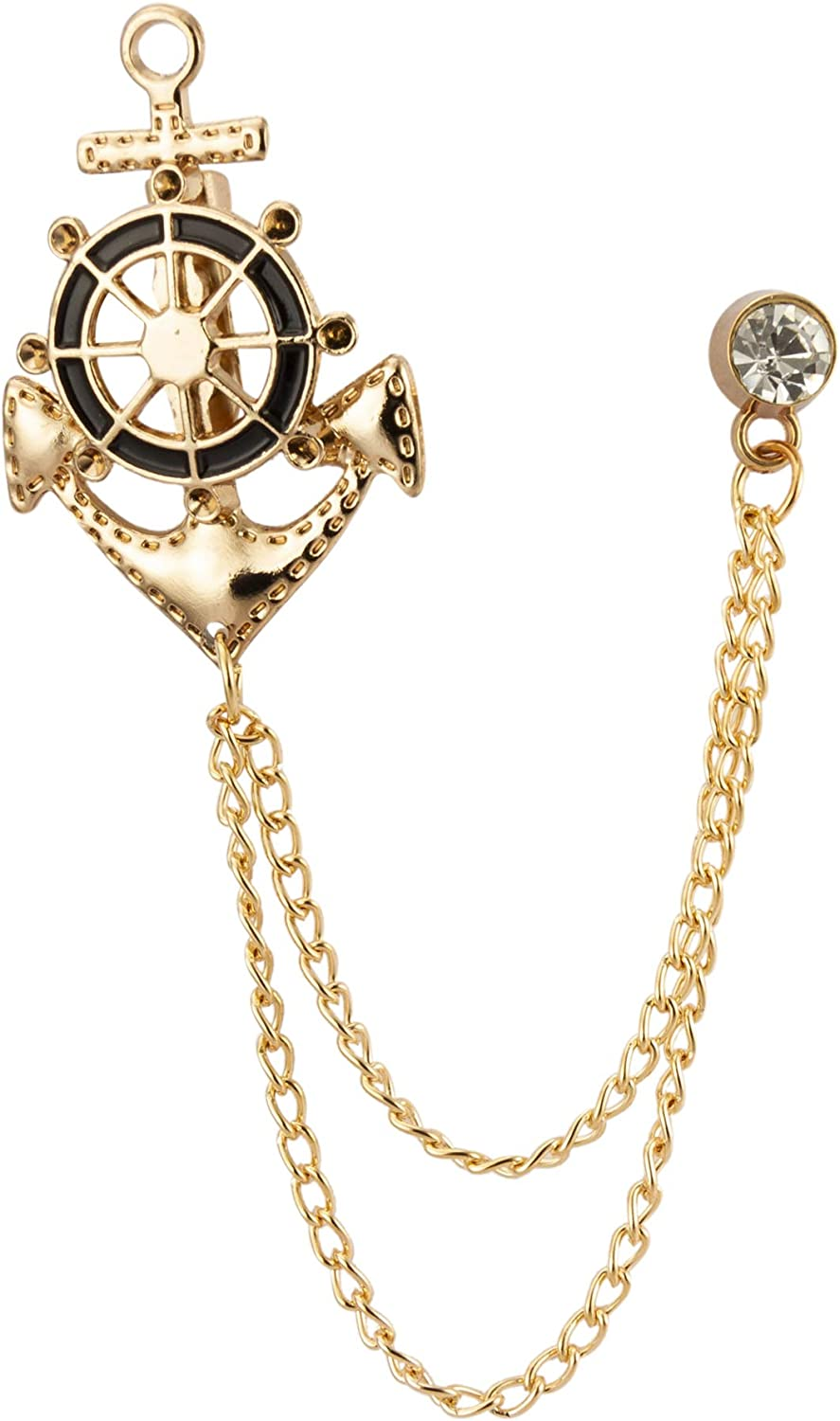 Knighthood Anchor Rudder Ships Wheel Nautical Lapel Pin Badge Coat Suit Collar Accessories Brooch for Men