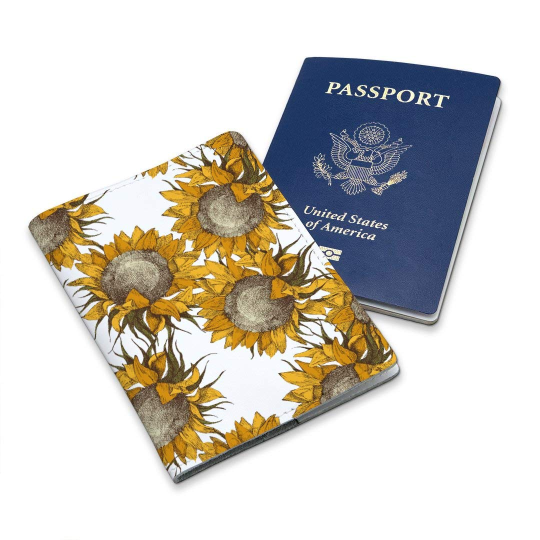 Leather Soft Wallet Case Cover Holder For Passport With Yellow Summer Sunflowers Design