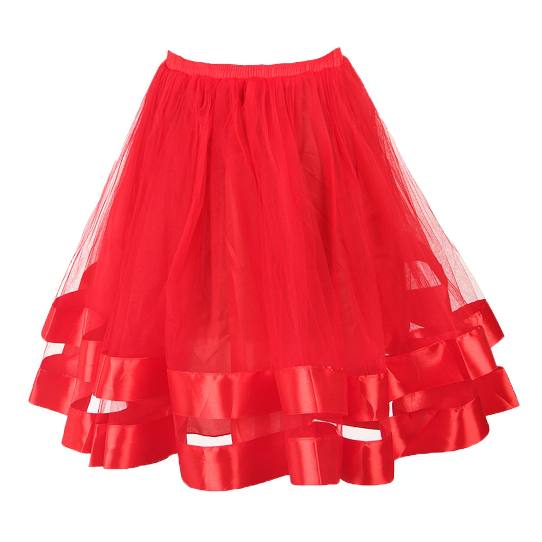 Musever Women's Short Petticoat Elastic Waistband Tutu Tulle Mini Skirt