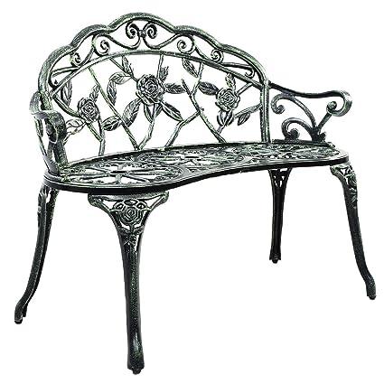 Giantex Patio Garden Bench Chair Style Porch Cast Aluminum Outdoor Rose  Antique Green