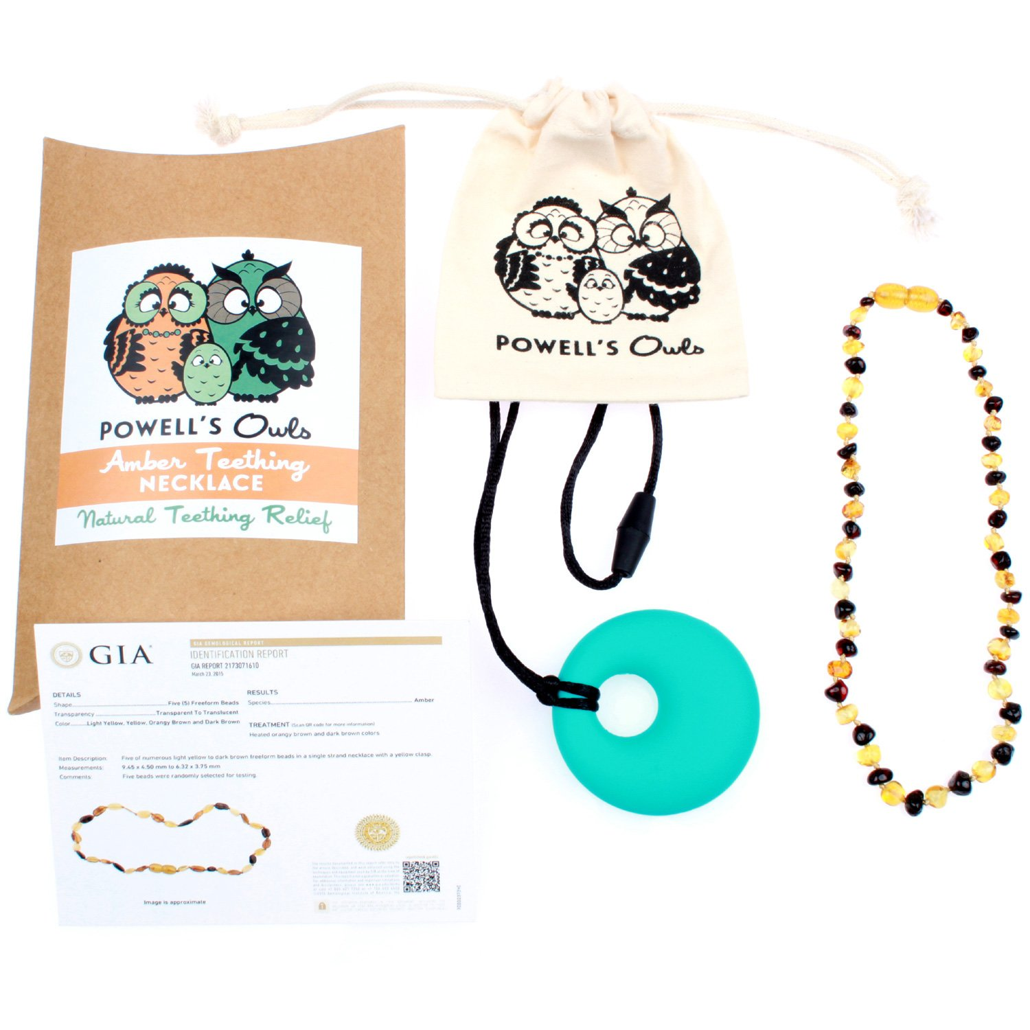 Baltic Amber Teething Necklace Gift Set + FREE Silicone Teething Pendant ($15 Value) Handcrafted, 100% USA Lab-Tested Authentic Amber - Teething Pain Relief (Unisex - Honey/Cherry Mix - 12.5 Inches) by Powell's Owls