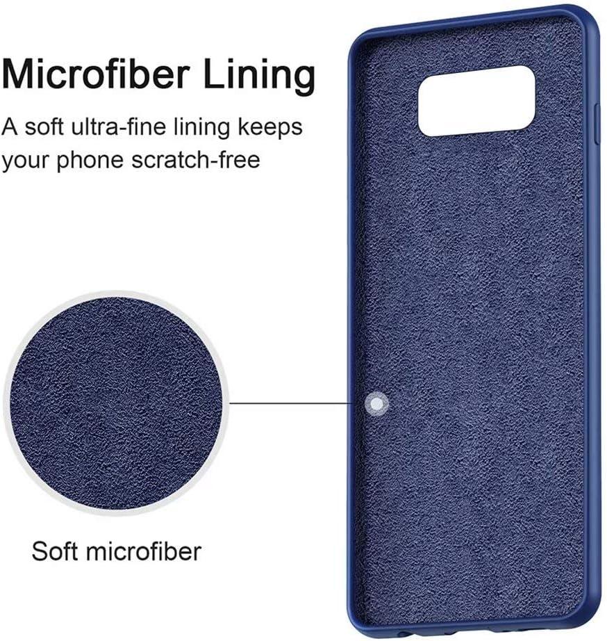 Blau NiaCoCo Kompatibel mit Samsung Galaxy S8 H/ülle Ultrad/ünn Fl/üssiges Silikon Weicher Mikrofaser Stoff Futter Pad Kratzschutz Handyh/ülle+1PCS Displayschutzfolie