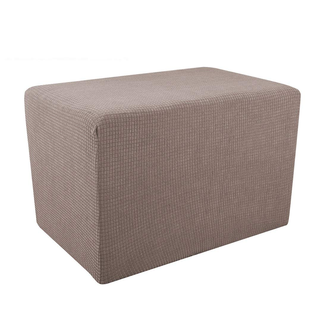 Freahap Ottoman Slipcover Jacquard Footstool Cover Elastic Bench Protector Stretch Knit Fabric Breathable Coffee S 2Pcs by Freahap