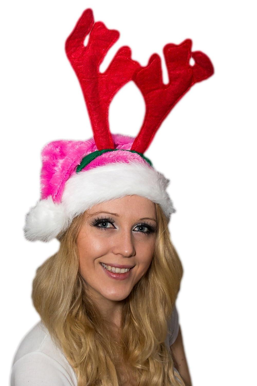 2 er Set Weihnachtsmütze Plüsch Pink Plüsch + Elch Geweih Rot Grün