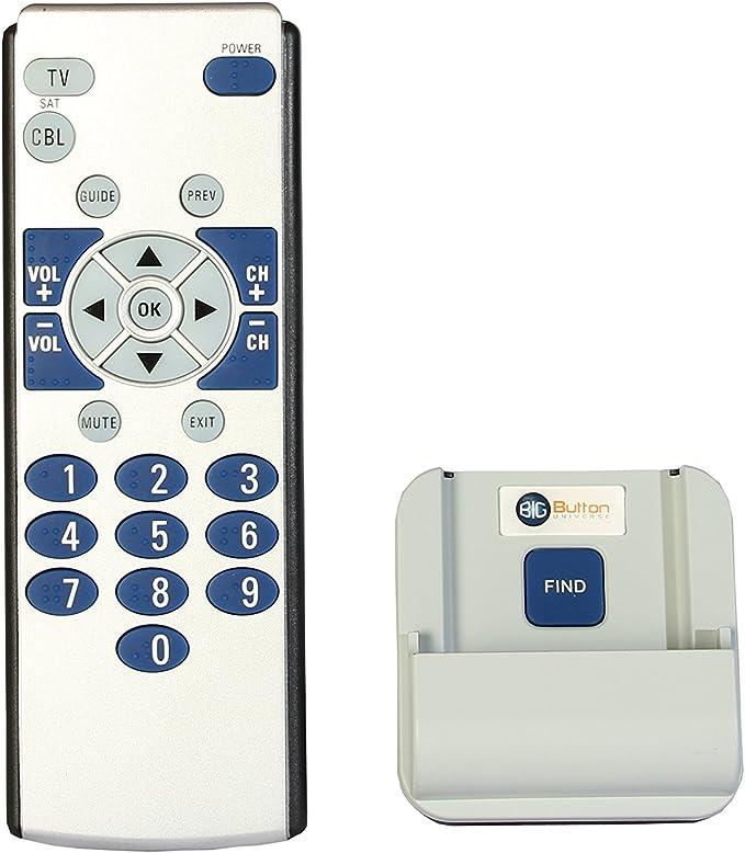 Big botón Universo 2-Device Universal Superior de Control de mando a distancia con soporte/localizador: Amazon.es: Electrónica