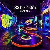 Onforu 33ft LED UV Black Light Strip Kit, 600 Units UV Lamp Beads, 12V Flexible Blacklight Fixtures, 10m LED Ribbon, Non-Waterproof for Indoor Fluorescent Dance Party, Stage Lighting, Body Paint