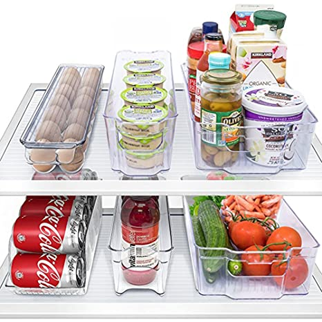 MineDecor 6 Piece Refrigerator Organizer set Freezer Storage Containers Clear Fridge Bins Include Drink Holder Egg  sc 1 st  Amazon.com & Amazon.com: MineDecor 6 Piece Refrigerator Organizer set Freezer ...