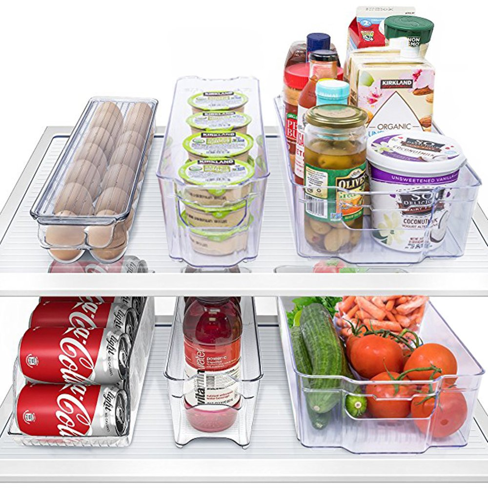MineDecor 6 Piece Refrigerator Organizer Set Kitchen Food Storage Cabinet Clear Freezer Storage Containers Include Drink Holder Egg Tray For Fruits Vegetables Milk