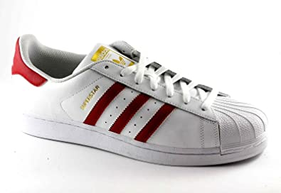 buy online e81b3 64731 Image Unavailable. Image not available for. Colour  adidas Originals Superstar  B27139 White Man red Shoes