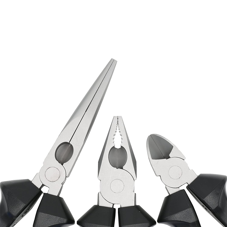 blau-schwarz 2 Komponenten-H/ülle Zangen-Satz 3-teilig aus Stahl Telefonzange 200 mm STAHLH/ÄRTER Kombizange 180 mm Seitenschneider 160 mm