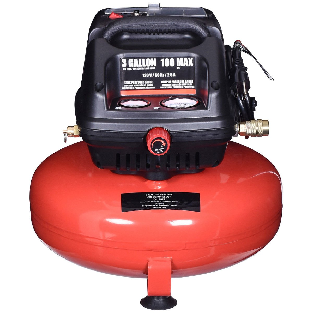 Amazon.com : Gymax 3 Gallon 100 PSI Oil-Free Pancake Air Compressor 0.5 HP Motor Portable : Garden & Outdoor