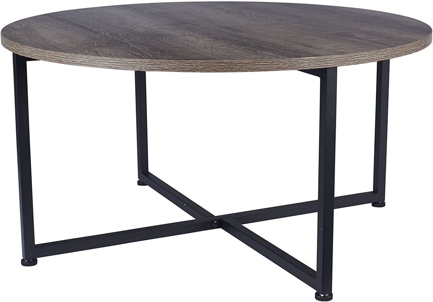 Household Essentials Grey Top Black Frame Ashwood Round Coffee Table: Furniture & Decor