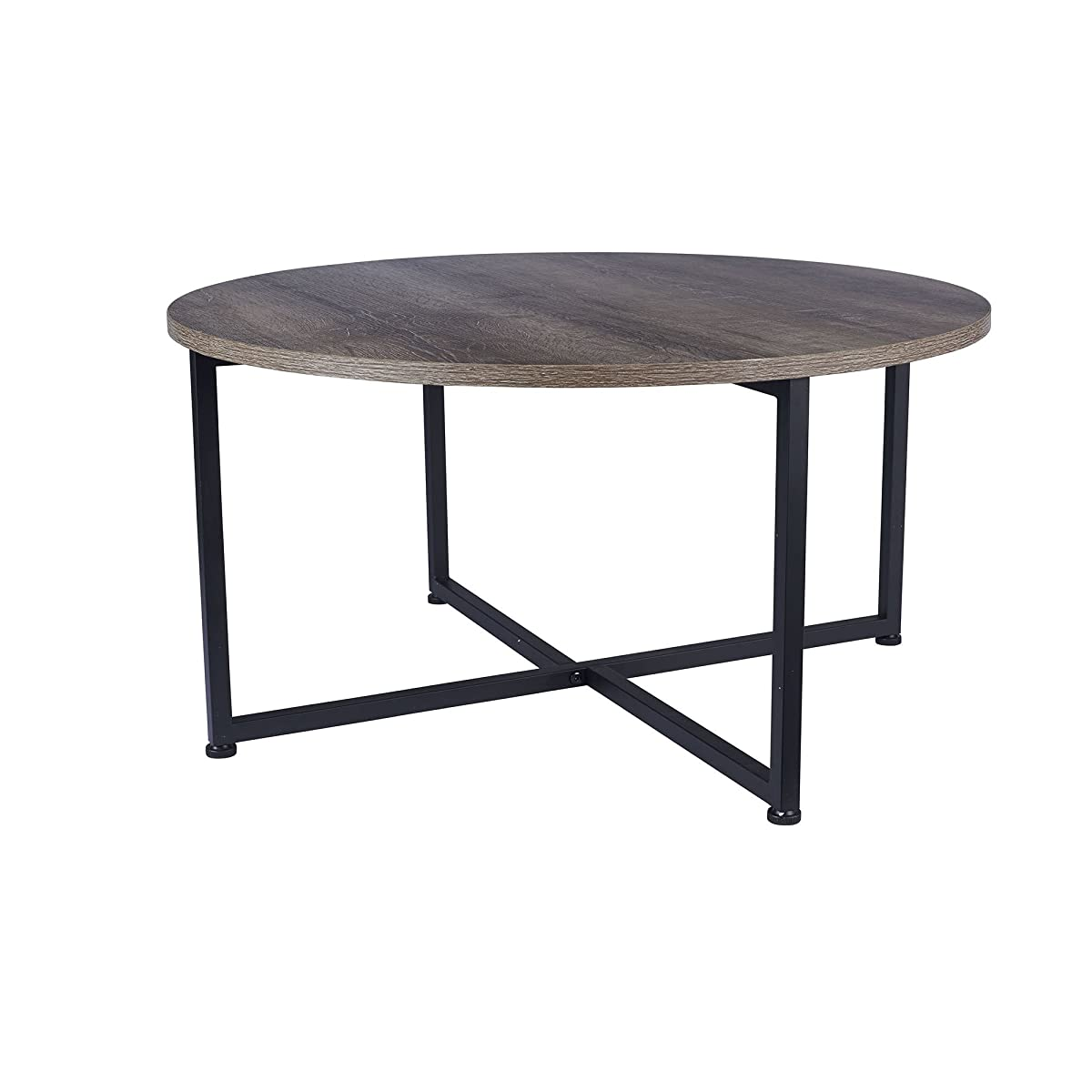Household Essentials 8079-1 Ashwood Round Coffee Table | Distressed Gray-Brown | Black Metal Frame