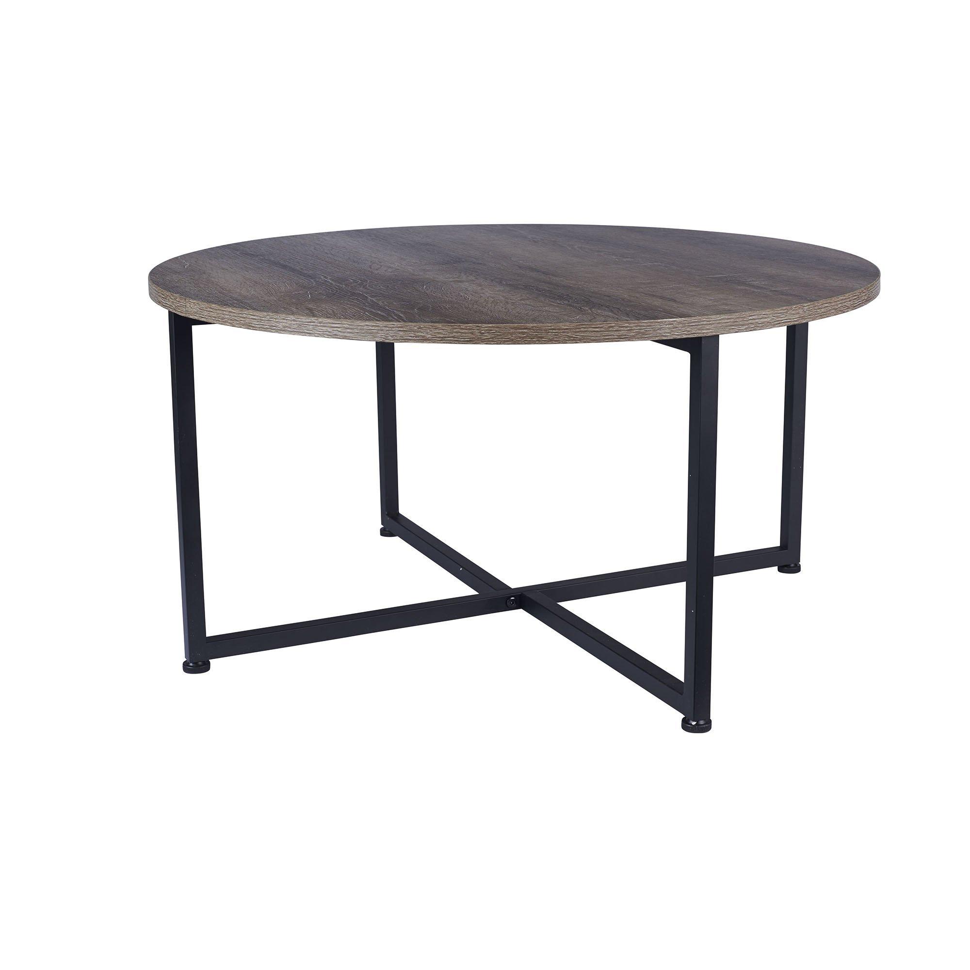 Household Essentials Grey Top Black Frame Ashwood Round Coffee Table by Household Essentials