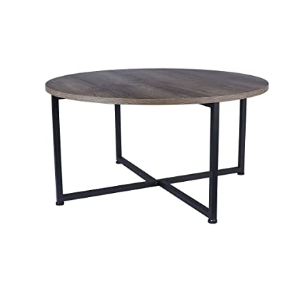 household essentials 8079 1 ashwood round coffee table distressed gray brown black - Metal Frame Coffee Table