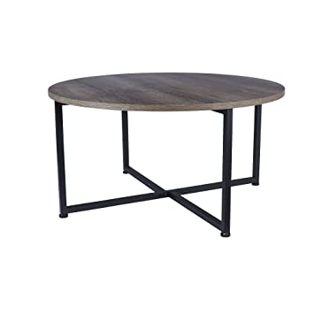 Household Essentials 8079 1 Ashwood Round Coffee Table | Distressed  Gray Brown | Black