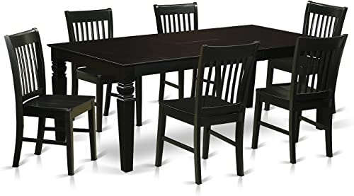 LGNO7-BLK-W 7 Pc Dining Room'set with a Dining Table and 6 Wood Dining Chairs in Black