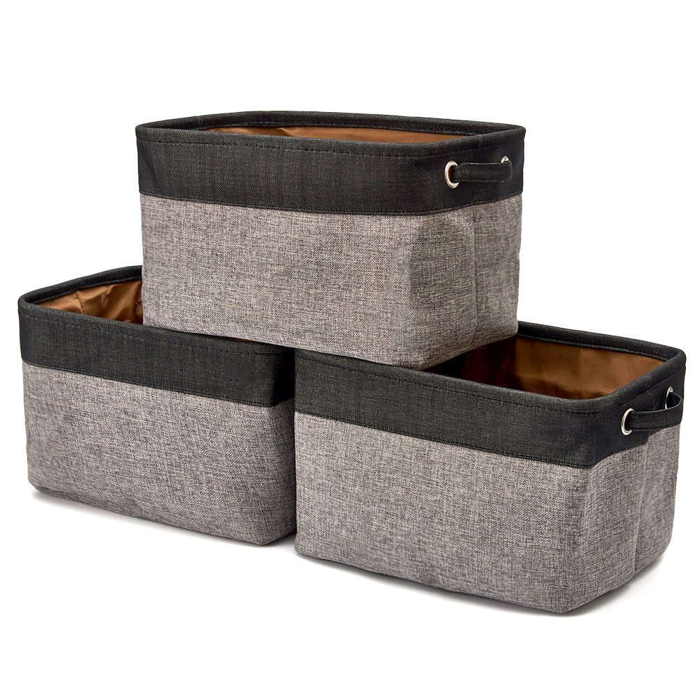 EZOWare Set of 3 Collapsible Large Cube Fabric Linen Canvas Storage Bins Baskets for Shelves Cubby Laundry Playroom Closet Clothes Shoe Baby Toy with Handles (Black and Gray)