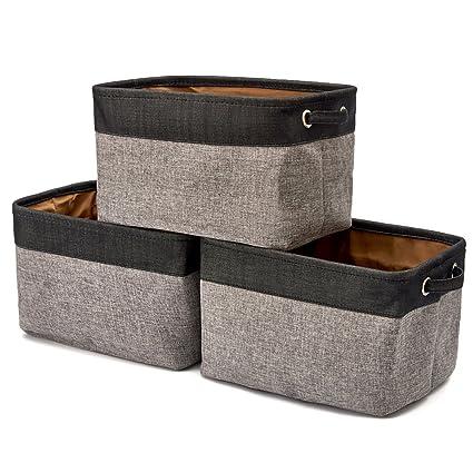amazon com ezoware set of 3 collapsible large cube fabric linen rh amazon com Fabric Bins Baskets and Bins Storage