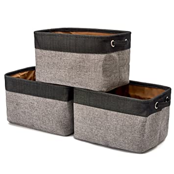 Bon EZOWare Storage Bins Organizer, Set Of 3 Foldable Collapsible Large Cube  Fabric Linen Canvas Storage