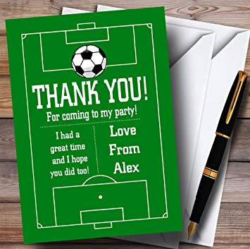 Soccer Football Pitch Green Party Thank You Cards