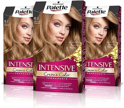 Schwarzkopf Palette Intensive Creme Color – Tono 8.2 cabello Rubio Beige (Pack de 3) Coloración Permanente de Cuidado con Aceite de Marula, Perfecta ...