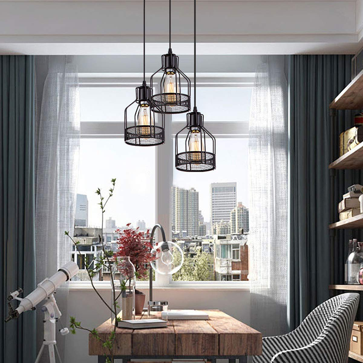Pendant Light with Rustic Black Metal Cage Shade, Industrial Retro Matte Black Adjustable 3-Lights Hanging Lighting, Pendant lamp Fixtures for Home, Kitchen Island, Barn, Dining Room, Cafe, Farmhouse by ZYuan (Image #2)